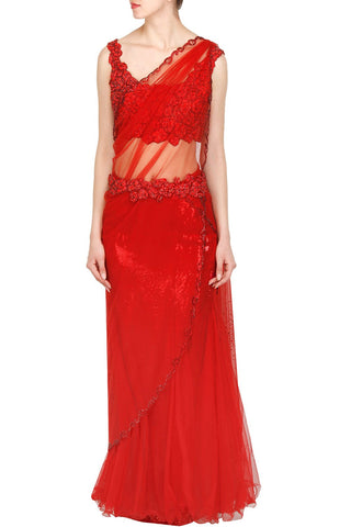 Red color saree gown