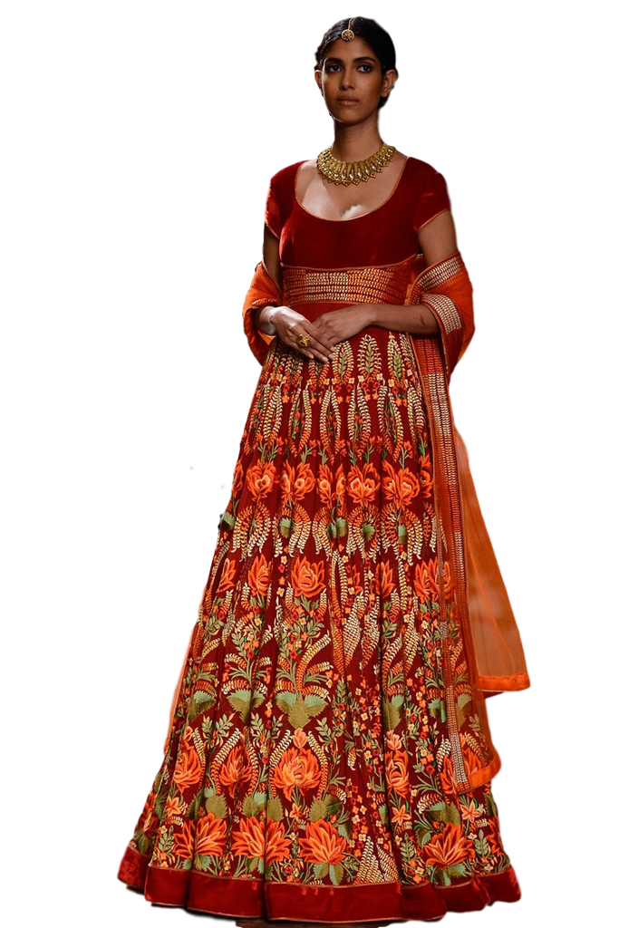 Red color floor length anarkali in velvet
