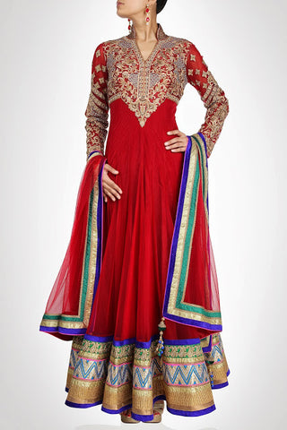 Red long length anarkali suit  available online