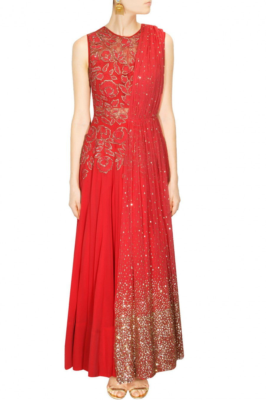 Ridhi Mehra Red colour embroidered anarkali with attached dupatta
