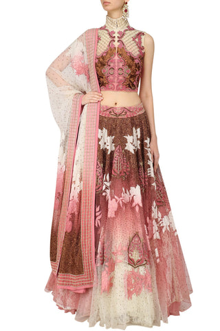 Rose Pink and Pearl White Lehenga Choli