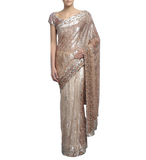 Ivory and antique color designer saree with sequin work by panache haute couture