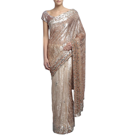 Ivory and antique color designer saree with sequin work