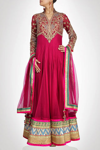 Rose pink long length anarkali suit with pink border available online