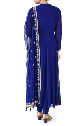 Royal Blue Anarkali with Gotta Patti Embroidery