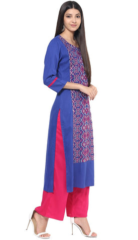 Royal Blue Colour Kurta with Pink Palazzo in Rayon Fabric