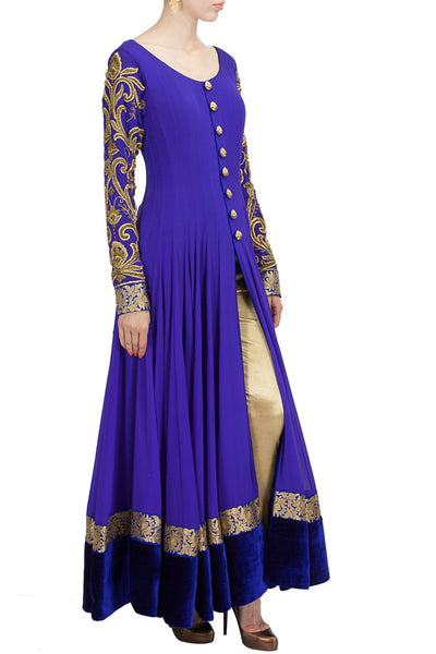 Floor Length Anarkali Suit In Royal Blue Color Panache
