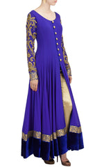 Royal blue color floor length anarkali suit