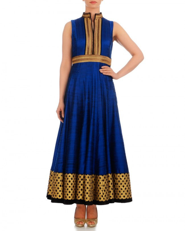 Royal blue long anarkali suit in raw silk