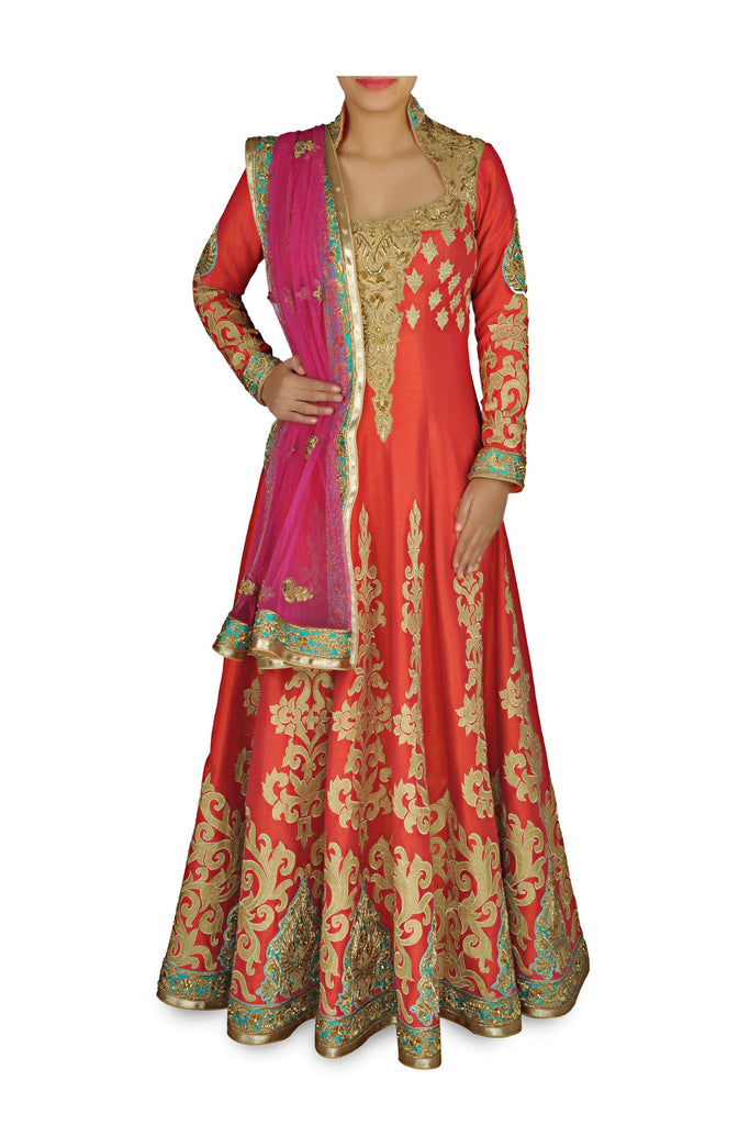 Rust color Bridal Wear Anarkali