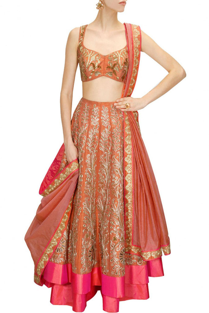 Rust Coral Color Bridal Lehenga Choli