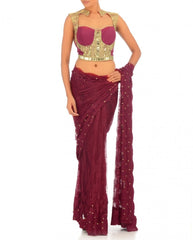 Purple colour net saree