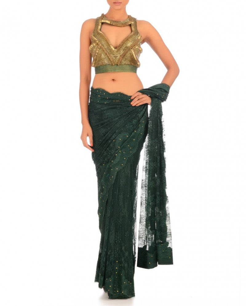 Blackish green color net saree