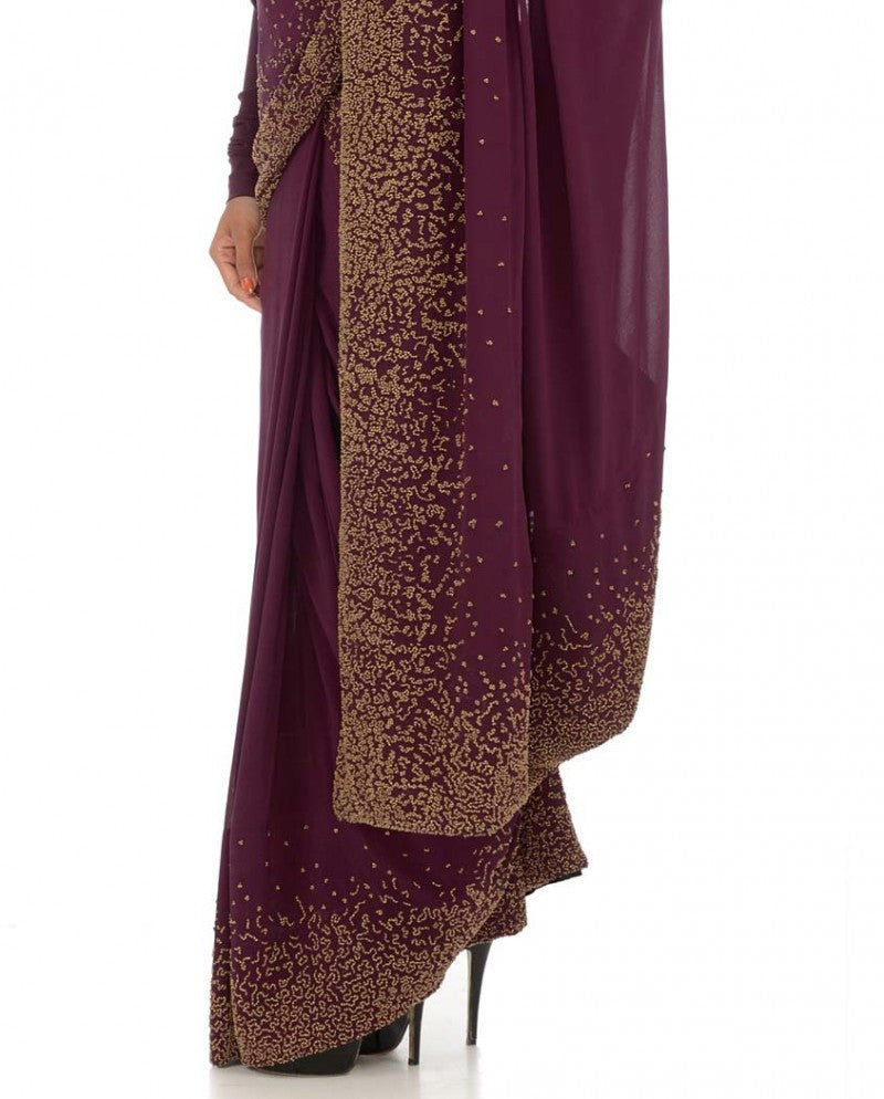 Purple color gorgette saree