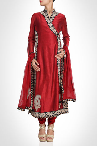 Marron color angrakha suit