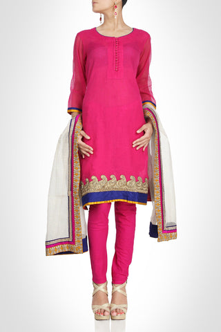 Beautiful Pink suit in chanderi silk