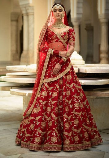 Red Colour Sabyasachi Inspired Wedding Lehenga Choli