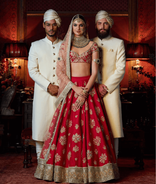 Watermelon Red Color Wedding Lehenga Set