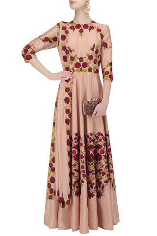 Salmon Pink Color Anarkali Kurta Set