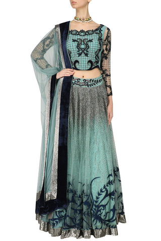 Sea Green and Blue Lehenga Choli