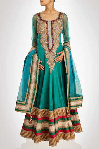 Sea green floor length anarkali suit available online