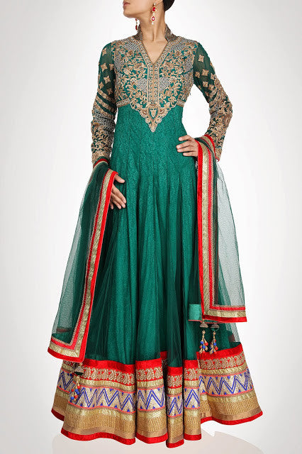 Sea green floor length anarkali suit