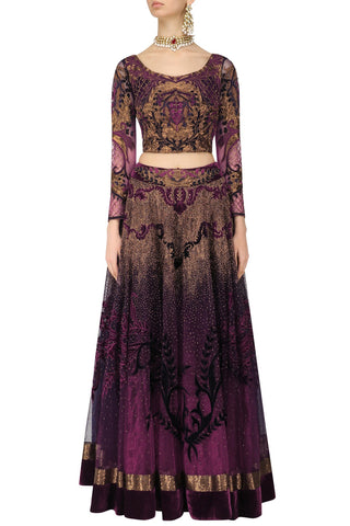 Shaded Purple Lehenga Choli with Dabka Embroidery