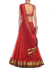 Shaded Coral and red party wear chaniya choli