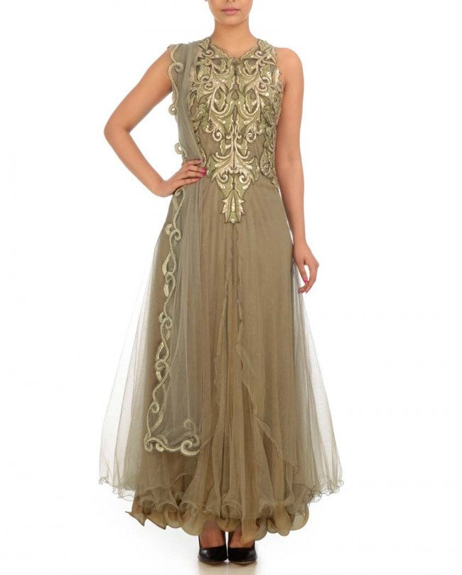Shimmer net frock suit in beige color