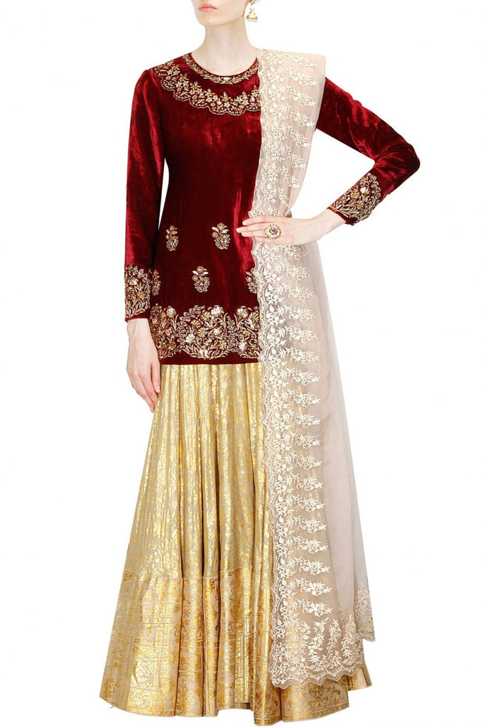 Short Maroon Kurta with Golden Lehenga