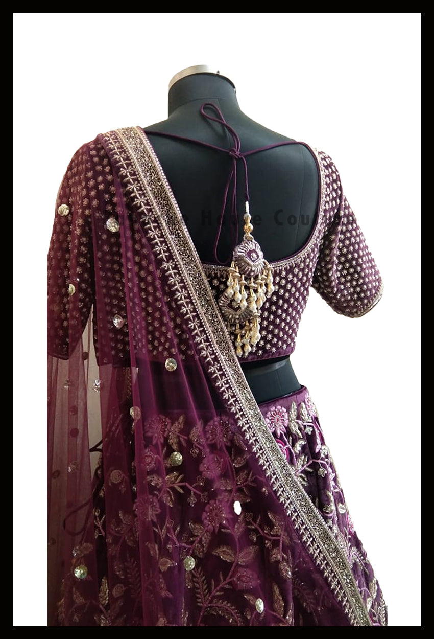Sizzling Purple Color Silk Velvet Designer Lehenga Choli