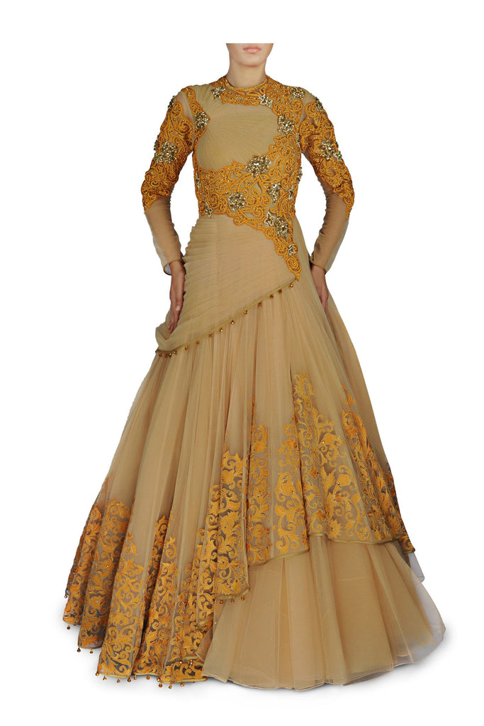 Skin and Yellow colour Royal Indo Western Gown