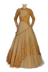 Fawn and Yellow colour Royal Indo Western Gown