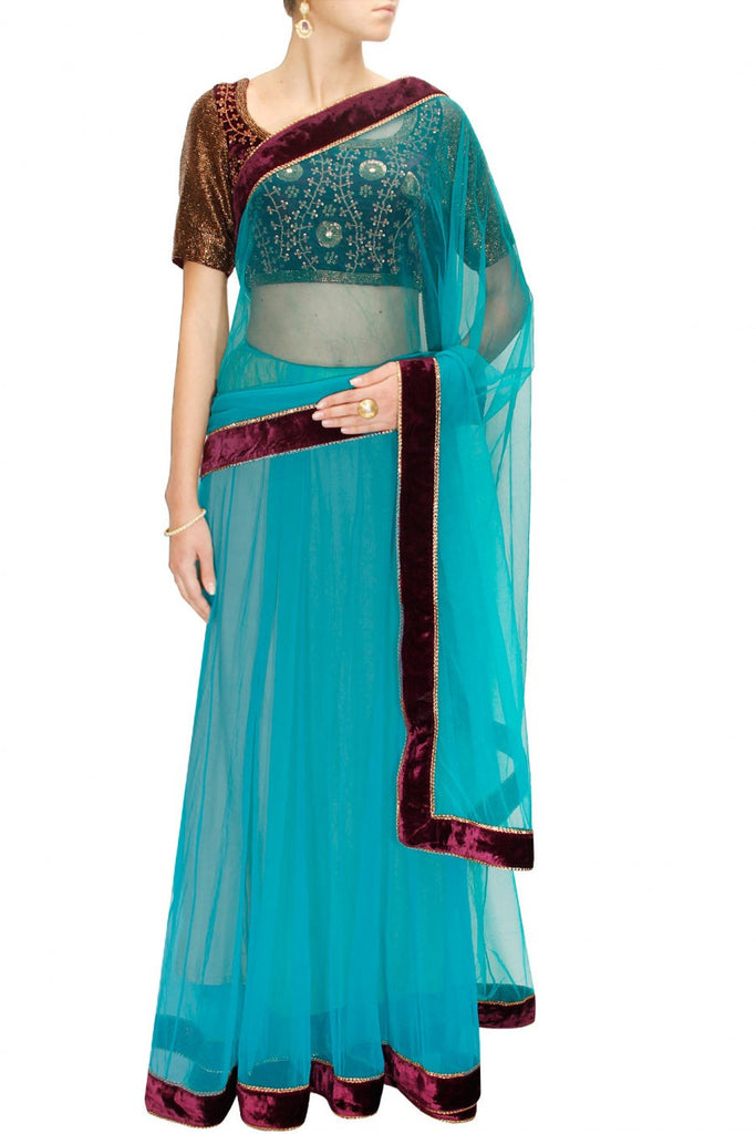 Sky Blue lehenga sari at Panache Haute Couture