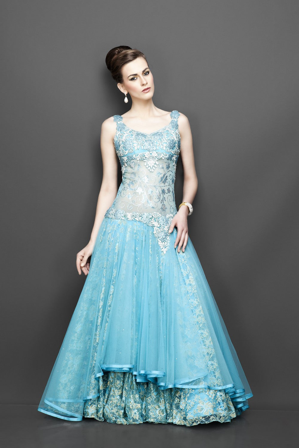 Aqua blue color Indo Western Gown – Panache Haute Couture