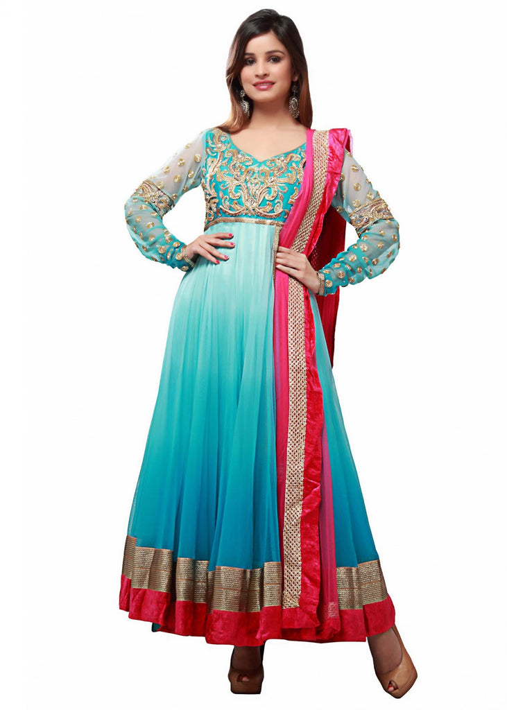 Sky blue shaded long anarkali suit