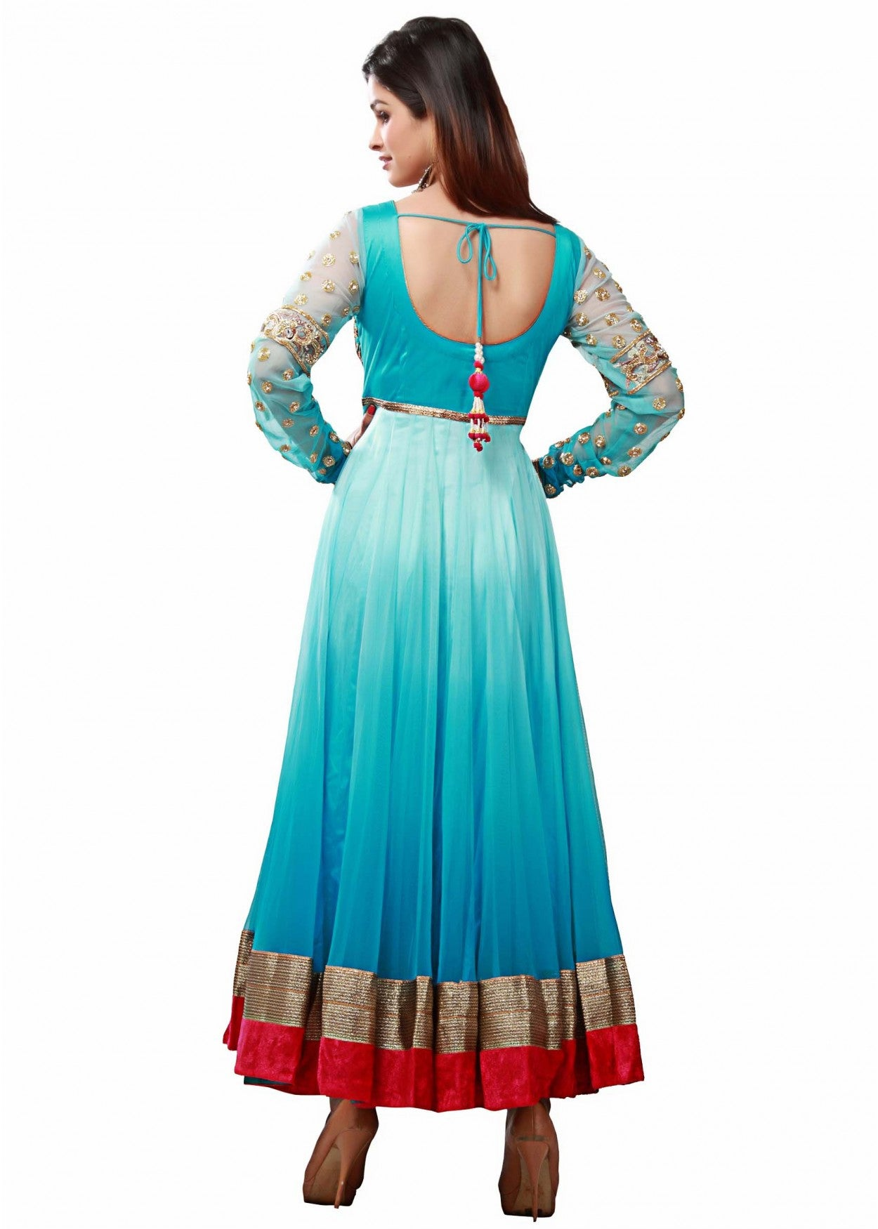 Sky blue shaded long anarkali suit – Panache Haute Couture
