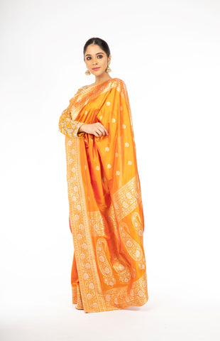 Sophisticated Mustard Yellow Handloom Pure Silk Saree