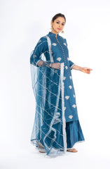 Stunning Classic Blue Chanderi Silk Kurta Set with Palazzo Pant and a Net Dupatta