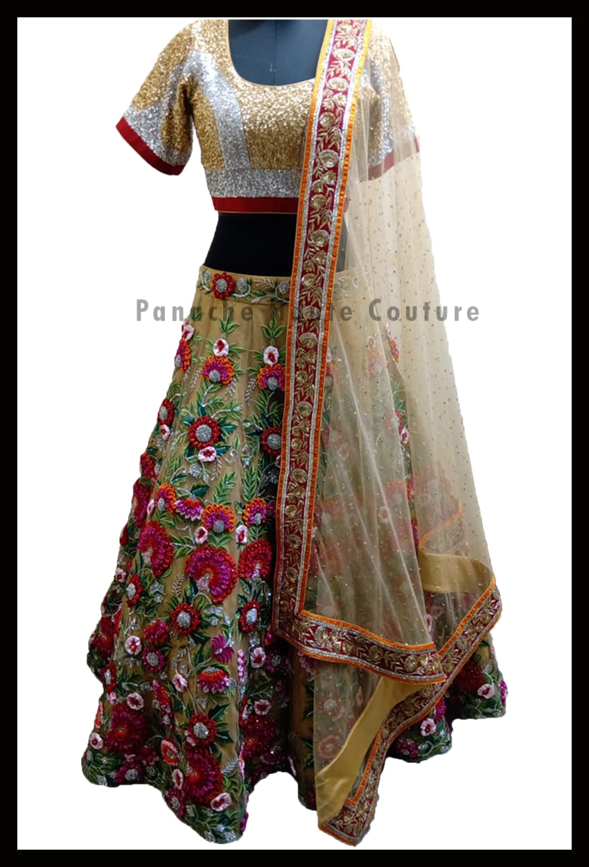 Stunning Party-wear Gold Lehenga with Thread and Hand Embroidery