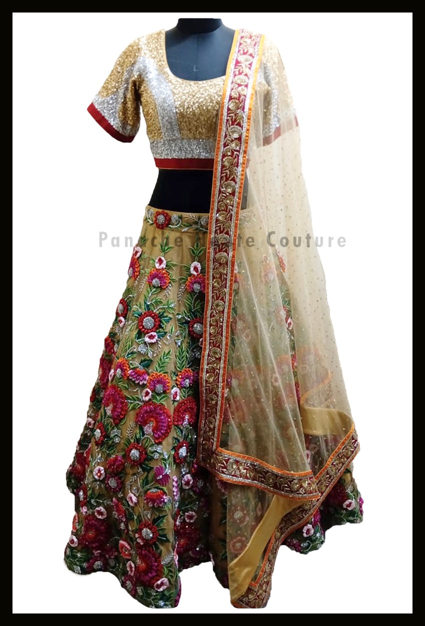 Stunning Party-wear Gold Lehenga with thread and hand embroidery from Panache Haute Couture 1