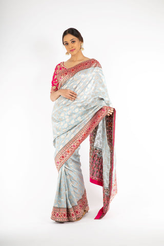 Stunning Powder Blue Banarasi Handloom Saree with Paithani Border