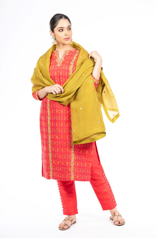 Stunning Red Color Ikkat Raw Silk Salwar Kameez