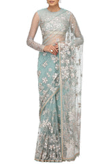 Aqua Hand-Embroidered Saree