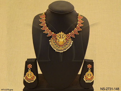 Red and Gold Temple Necklace Set