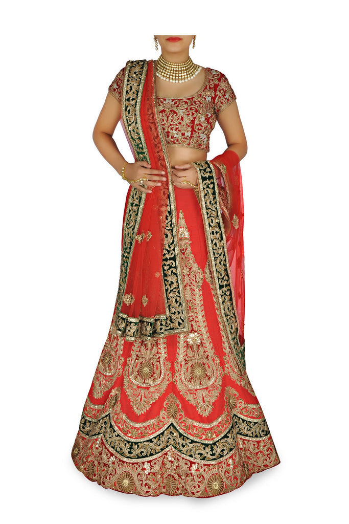 Tomoto red color wedding lehenga choli