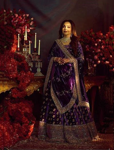 Voilet Color Velvet Silk Wedding Lehenga