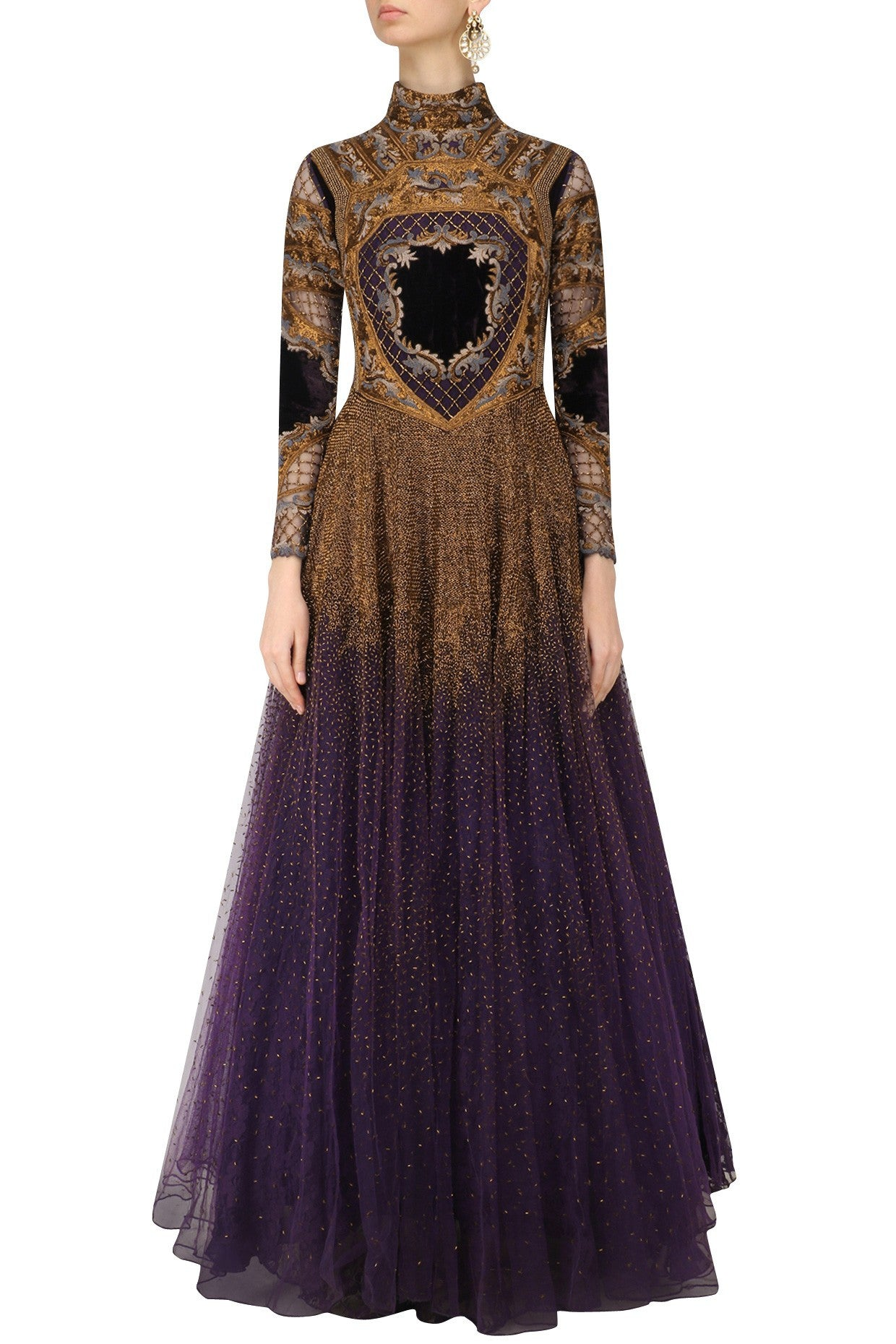Voilet color Indo Western Gown by Panache Haute Couture