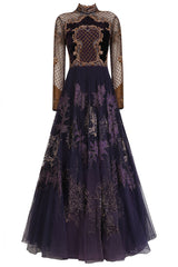 Voilet color Indo Western Gown with Antique Embroidery