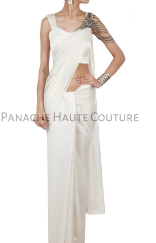 White Color Crepe Designer Saree Gown Online